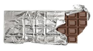 Bitten milk chocolate bar