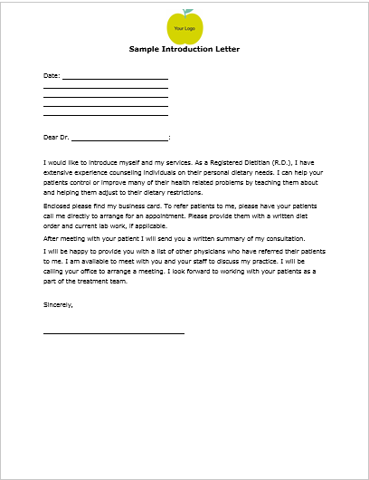 Customized Nutrition Newsletters | Sample Introduction Letter – Use ...